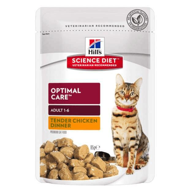 Hills Science Diet Adult Cat Wet Food Optimal Care Chicken Pouches 85g x 12 - Epic Pet