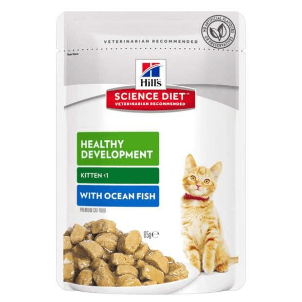 Hills Science Diet Kitten Wet Food Ocean Fish Pouches 85g x 12 - Epic Pet