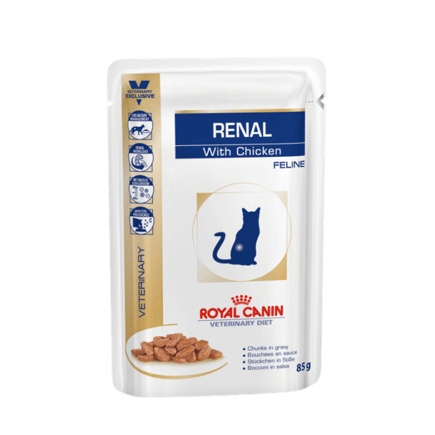 Royal Canin Veterinary Cat Wet Food Renal Chicken Pouches 12 x 85g - Epic Pet