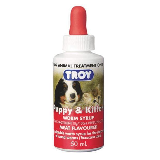 Troy Puppy & Kitten Worm Syrup 50ml - Epic Pet