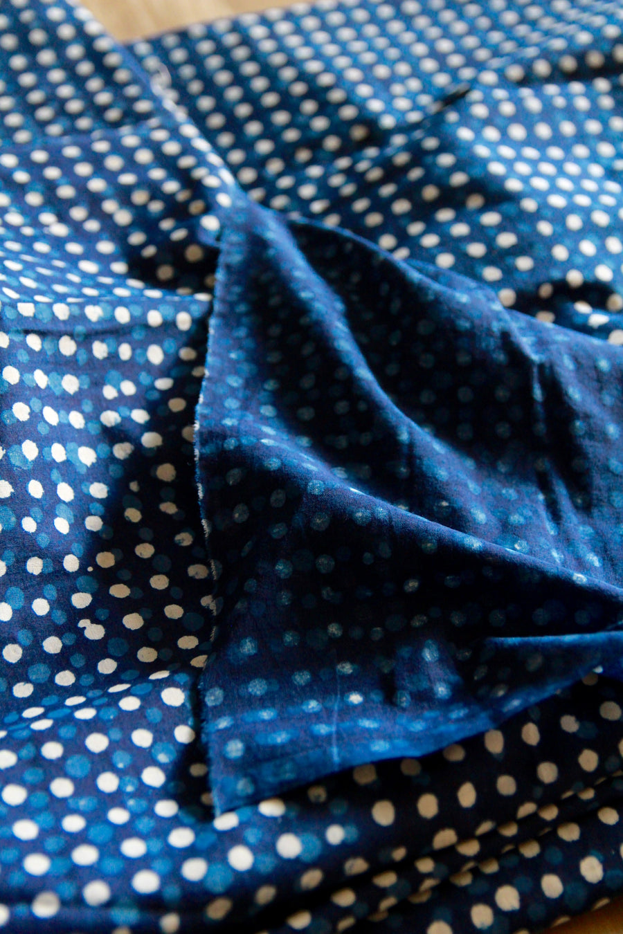Khadi Cotton Block Print Indigo Dots