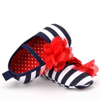 Stripe Flower Soft Sole Shoes