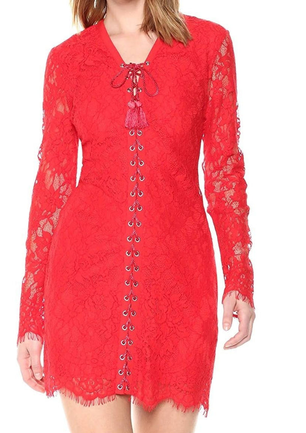 Dakota Lace-up Floral Lace Sheath
