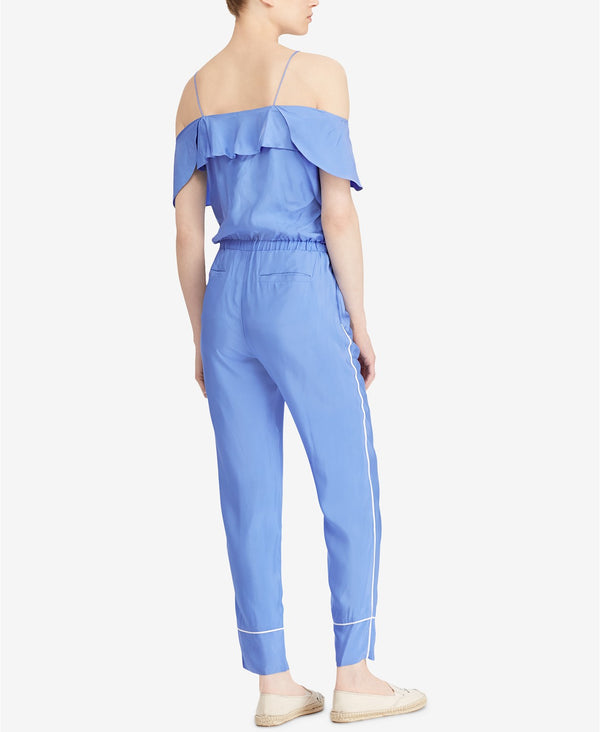 Lauren Ralph Lauren Twill Cold-Shoulder Jumpsuit True Sapphire