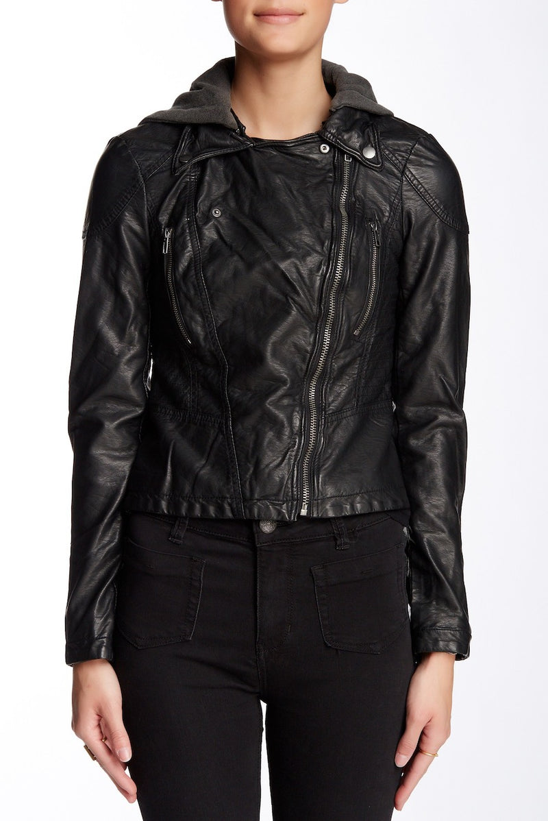 Hooded Faux Leather Moto Jacket