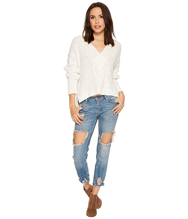 Free People Coco V-Neck White Sweater Pullover