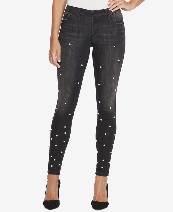 Juniors' Kiss Me Faux-Pearl Studded Skinny Jeans
