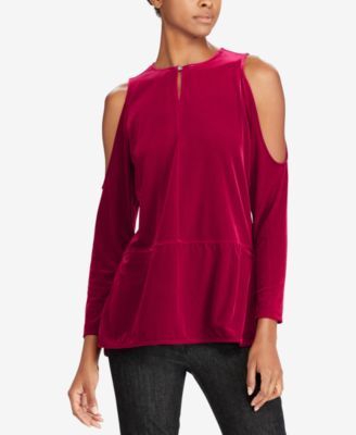 Lauren Ralph Lauren Womens Velvet Cold Shoulder Blouse