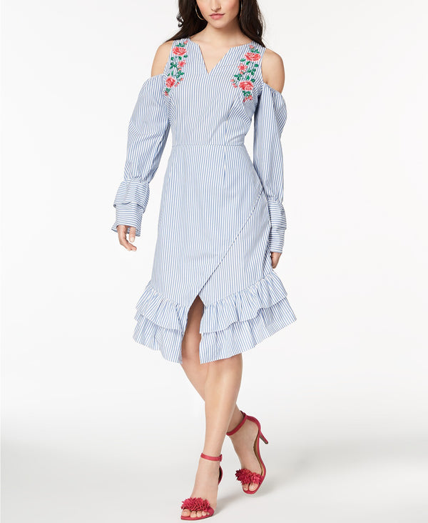 Juniors' Striped Embroidered Wrap Dress