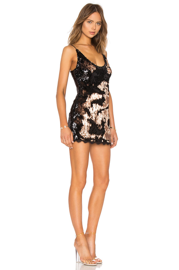 SEEING DOUBLE SEQUIN SLIP DRESS