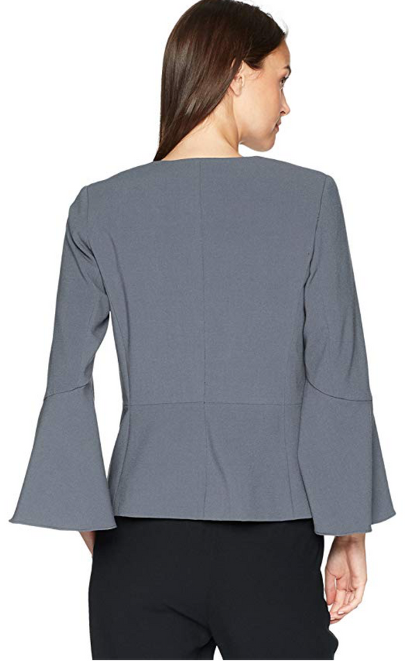 Kensie Women's Stretch Crepe Blazer With Bell Sleeve