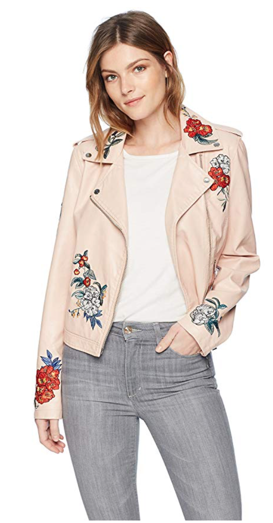 Guess Women's Long Sleeve Embroidered Moto Jacket