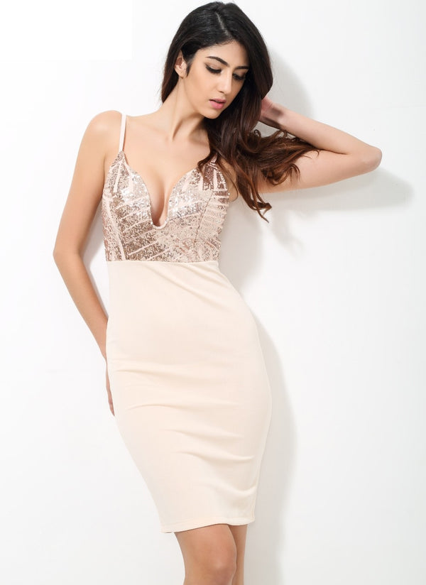 V Neck Plunge Party Dress