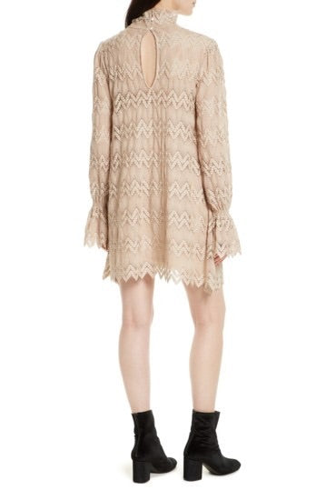 Simone Mock Neck Lace Mini Dress