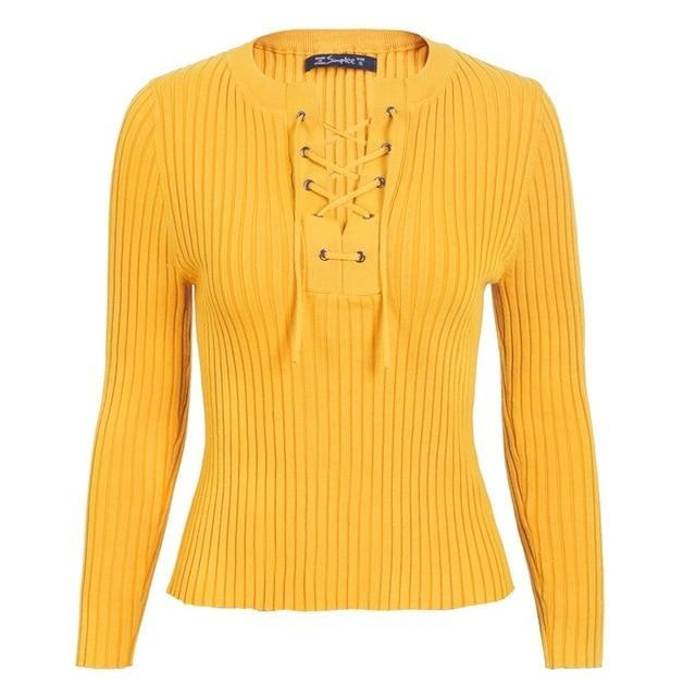 NECK TIE UP KINITTED SWEATER