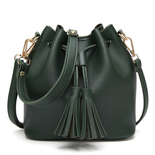 Small Women Leather Bucket Bag