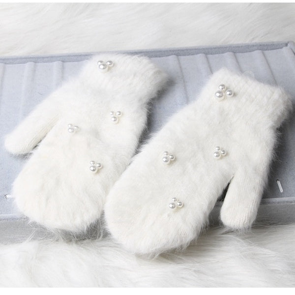 Luxury Pearl Rabbit Fur Gloves