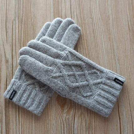 Gloves Double Thick Warm Wool Knitted