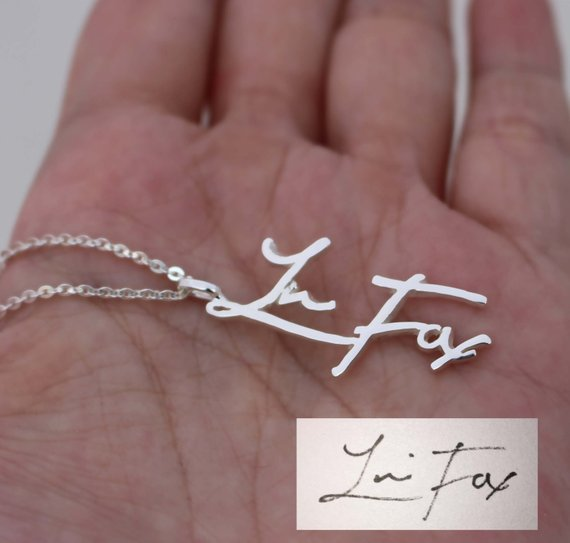 Custom Vertical Handwriting Necklace