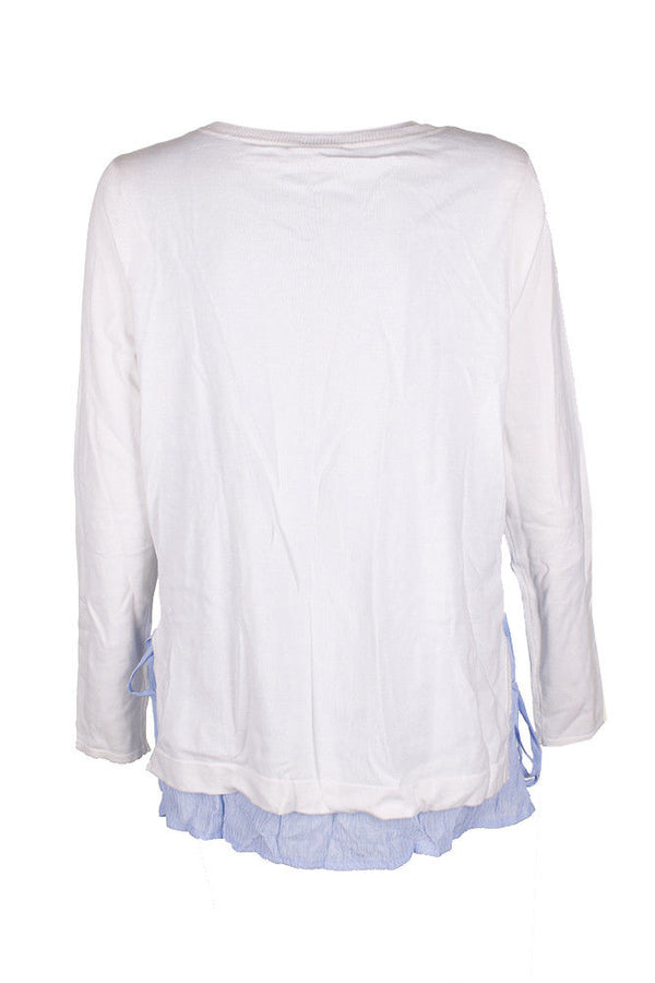 Tommy Hilfiger Ivory Blue Layered Look Side Tie Long Sleeve Crew Neck Sweater