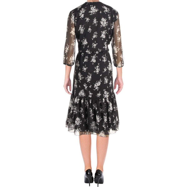 Floral Print Midi Dress in Black