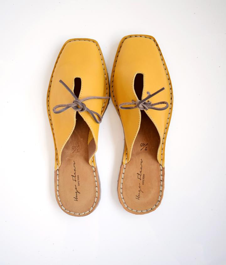 SALE: SHOES INGRID SQUARE TOE SANDALS SLIP ON - MUSTARD was R 1000