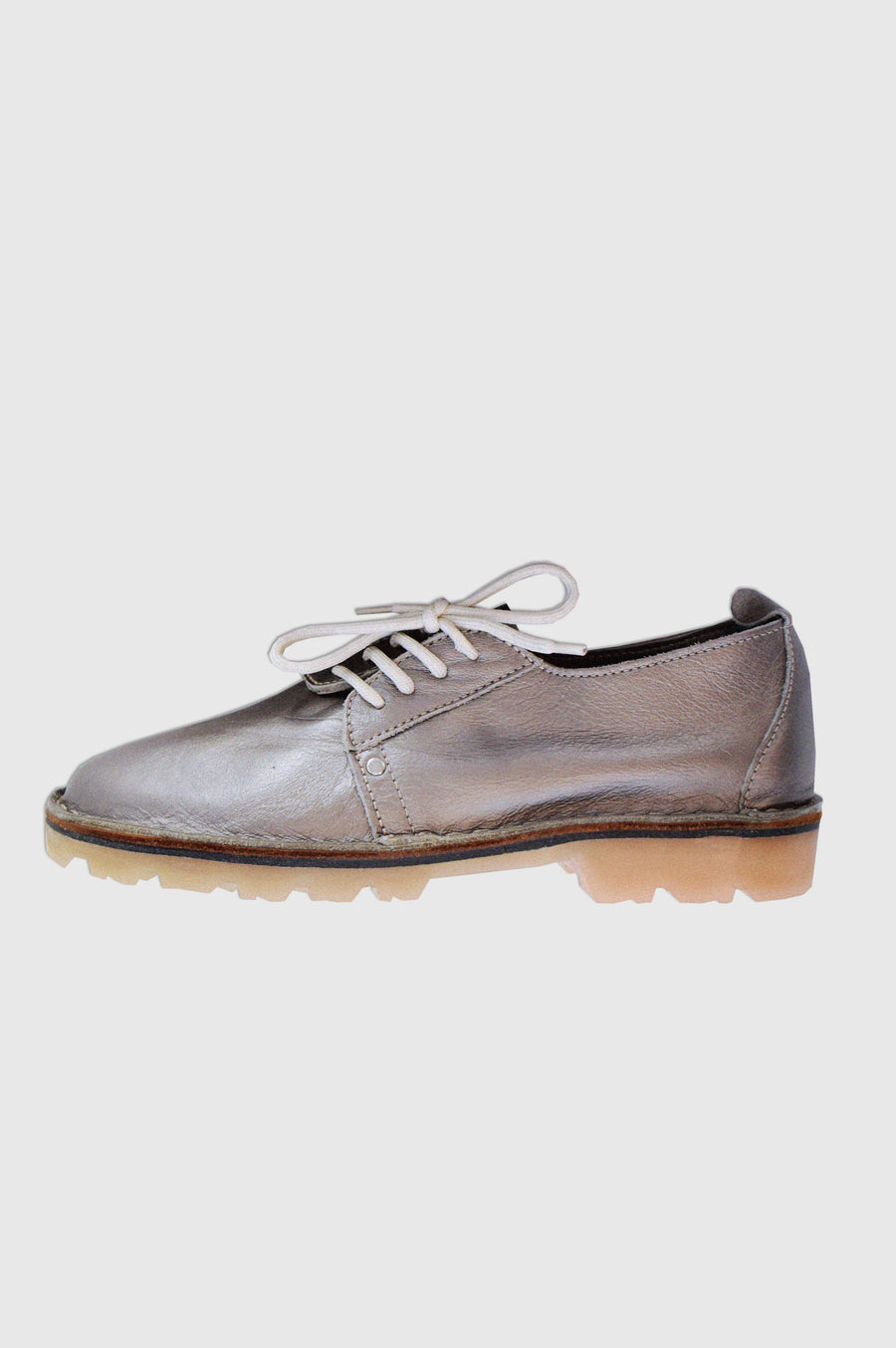 SHOES | SIDE LACE UP VELLIES | METALLIC PEWTER