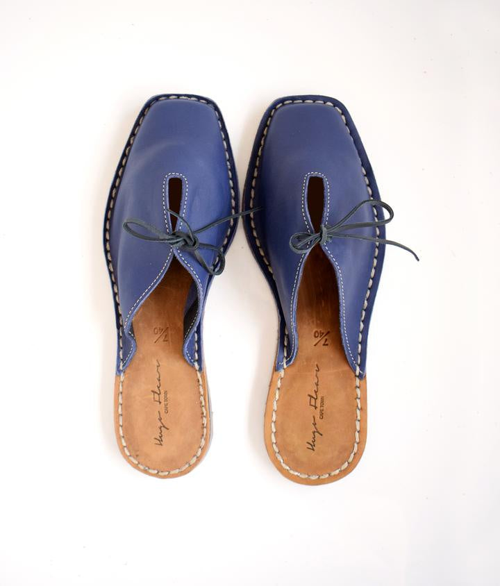 SALE: SHOES INGRID SQUARE TOE SANDALS SLIP ON - NAVY was R 1000
