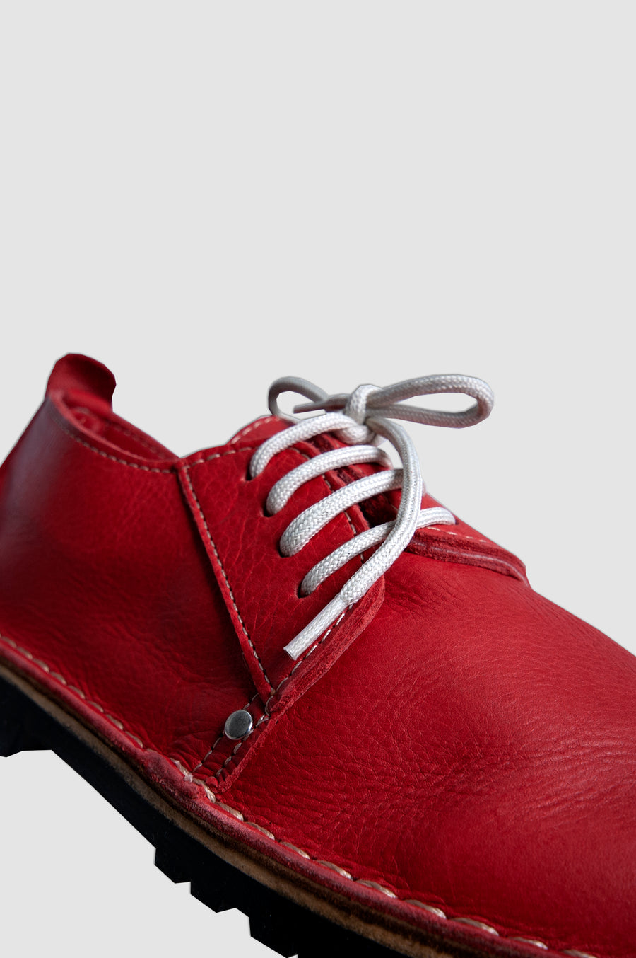 SHOES | SIDE LACE UP VELLIES | RED (BLACK SOLE)