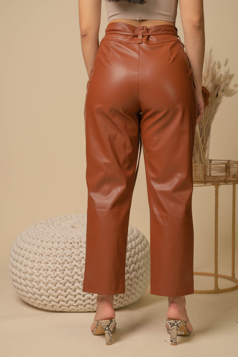 Strength Front Tie Leather Pants