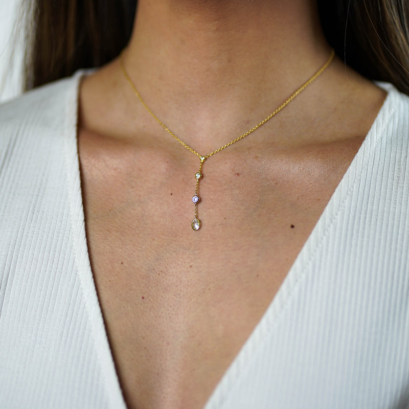 Teardrop Lariat Gold Necklace