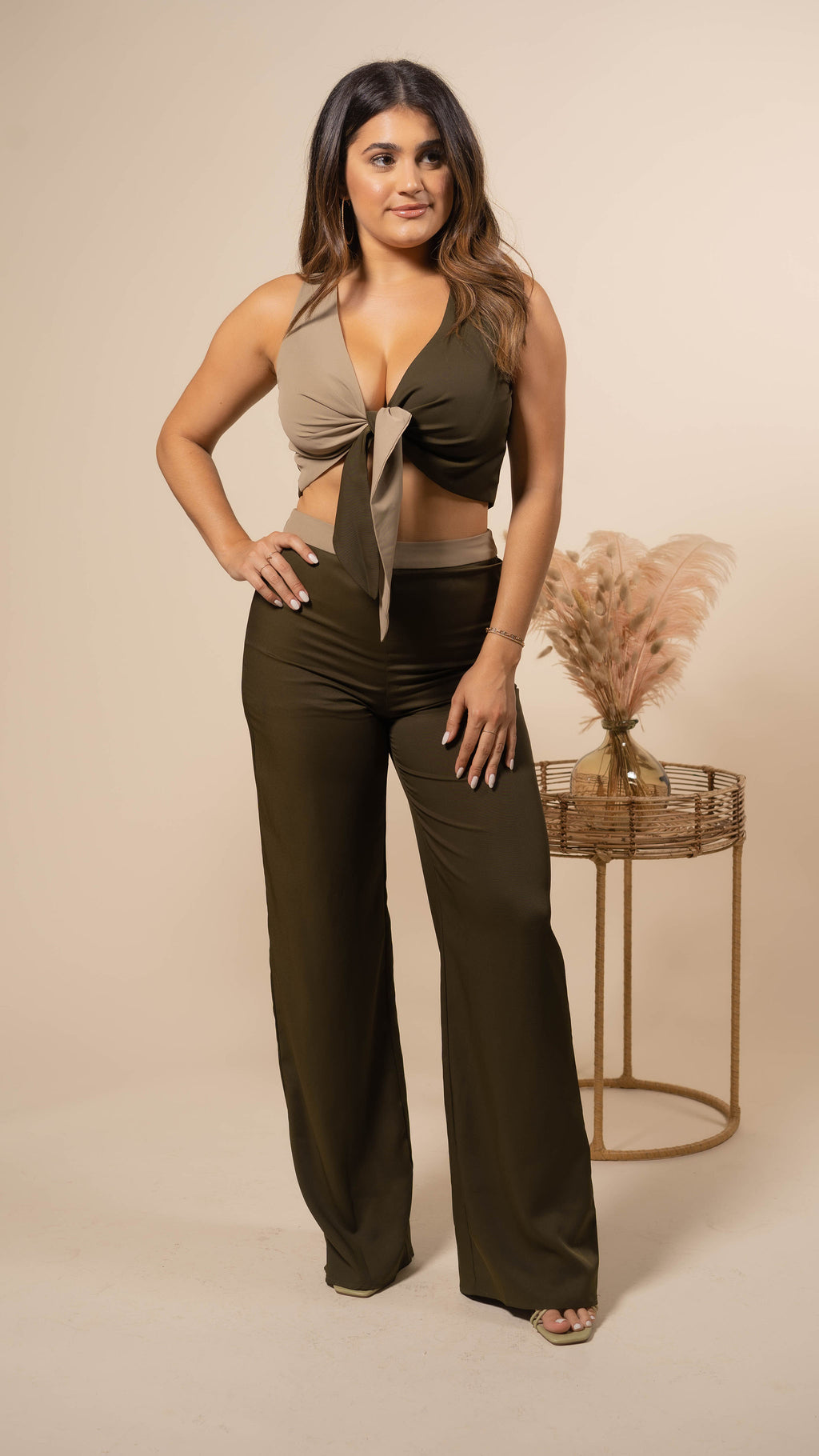 Blissful Crop Top and Wide Leg Pant Set