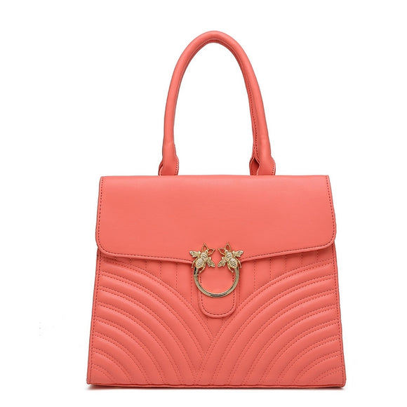 HONEY Bee Top Handle Bag - Coral