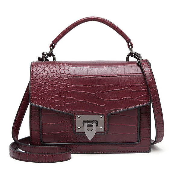 ELLE Croc Satchel Bag Burgundy