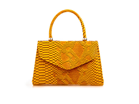 CARMEN Snakeskin Mini Tote Handbag Yellow