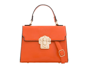 BROOKE Lizard Skin Tote Bag Orange