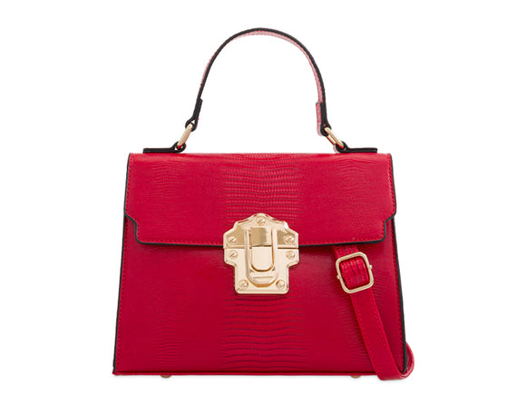 BROOKE Lizard Skin Tote Bag Red
