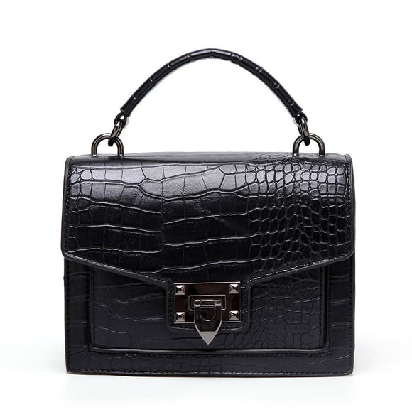 ELLE Croc Satchel Bag Black