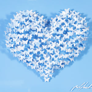 FLYING LOVE MINI - WHITE/BLUE BUTTERFLIES ON BABY BLUE