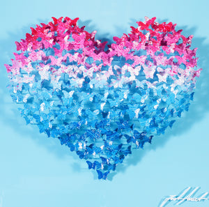 FLYING LOVE MINI - FUCHSIA/BLUE BUTTERFLIES ON BABY BLUE