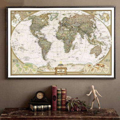 Large Antique World Map - Love Travel Share