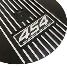 Load image into Gallery viewer, ansen custom engraving, big block chevy 454 super sport 13 inch air cleaner lid, black, angled view