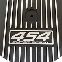 Load image into Gallery viewer, ansen custom engraving, big block chevy 454 super sport 13 inch air cleaner lid, black, close up view