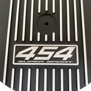 ansen custom engraving, big block chevy 454 super sport 13 inch air cleaner lid, black, close up view