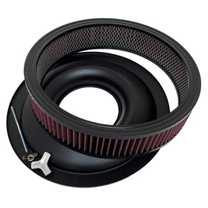 ford fe 427 american eagle air cleaner kit 15 inch round, black, ansen usa, filter base rod view