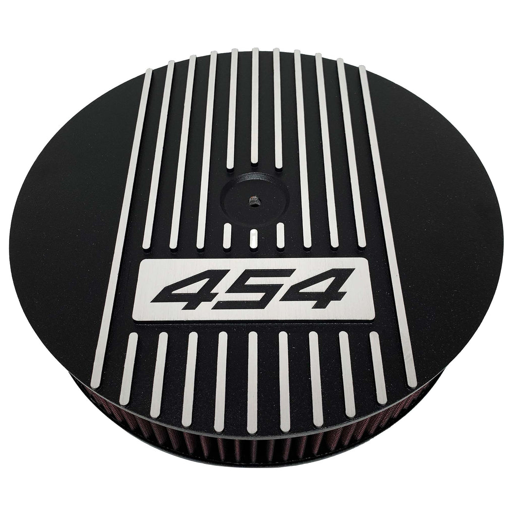 ansen custom engraving, 13 inch round air cleaner lid, big block chevy 454, black, front view