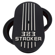 Load image into Gallery viewer, 383 stroker air cleaner lid kit, raised logo, black, front view