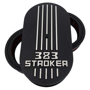 383 stroker air cleaner lid kit, raised logo, black, front view