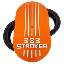 Load image into Gallery viewer, 383 stroker air cleaner lid kit, raised logo, orange, front view