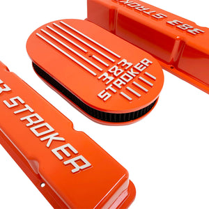 383 stroker valve covers and air cleaner lid kit, raised logo, orange, left side view